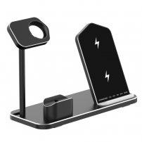 3 az egyben gyors töltő állvány vezeték nélküli töltéshez iPhone / Apple Watch / AirPods - fekete