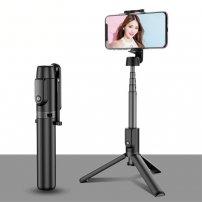 Teleszkópos távirányítós Bluetooth selfie bot / állvány háromlábú állvánnyal - fekete