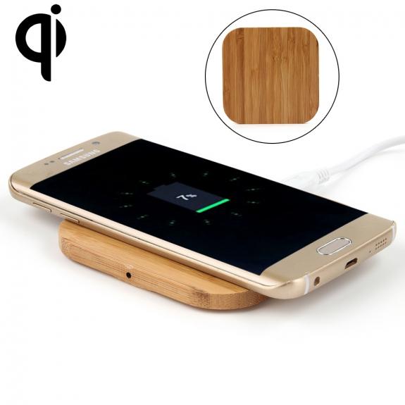 bambusz asztali telefon tartó és vezeték nélküli töltő