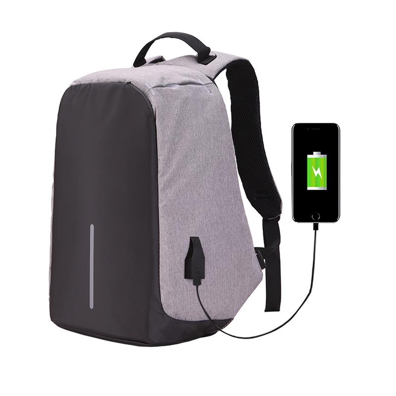 Biztonságos hátizsák USB porttal - szürke - AppleKing.hu b18655e46c